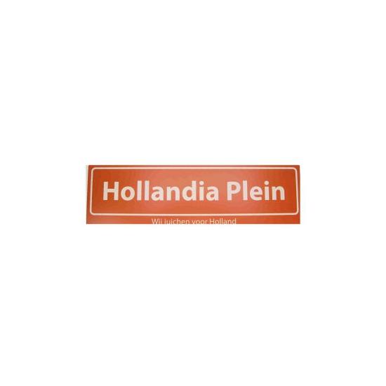 Oranje straatbord Hollandia Plein