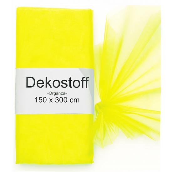 Organza stof neon geel op rol 150 x 300 cm