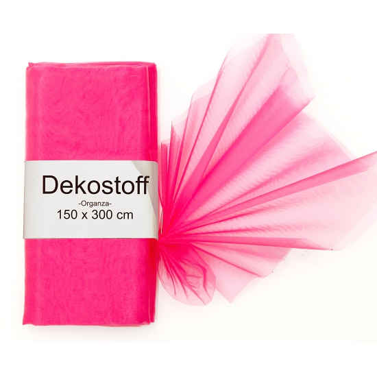 Organza stof neon roze op rol 150 x 300 cm