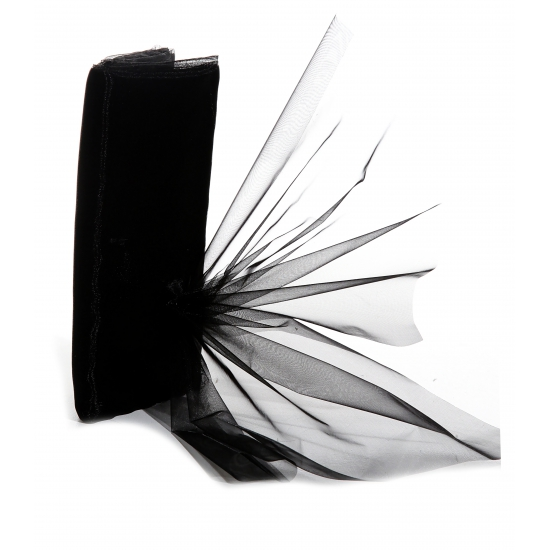 Organza stof zwart op rol 150 x 300 cm