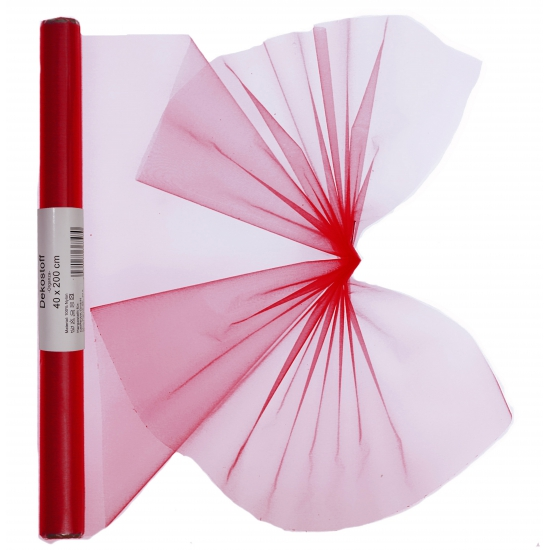 Organza tule rol rood 40 x 200 cm