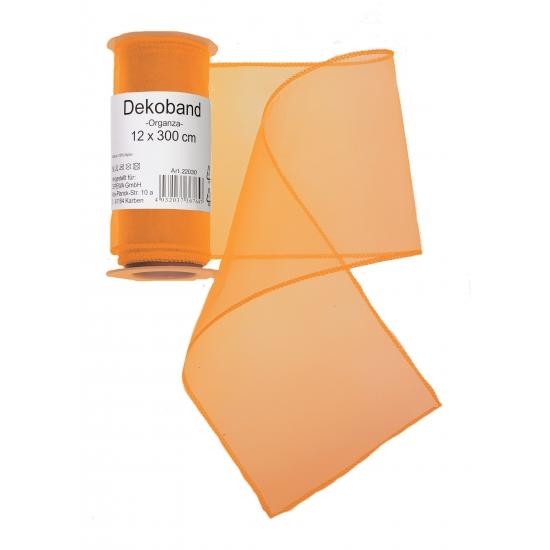 Organza tule strook oranje 12 x 300 cm