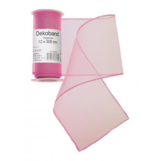 Organza tule strook roze 12 x 300 cm