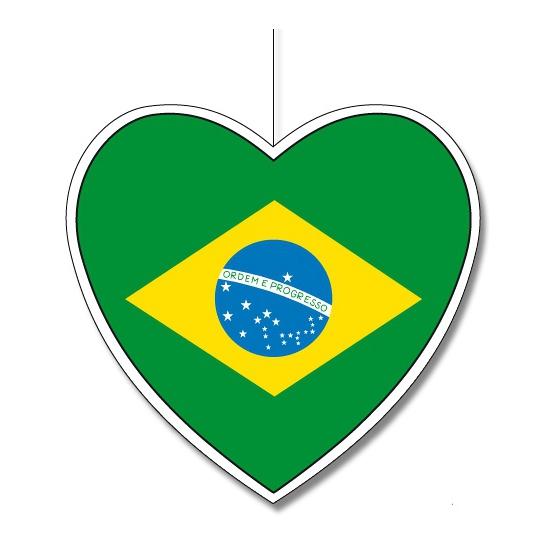 Papieren decoratie hart Brazilie 30 cm