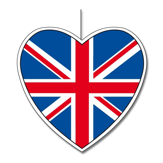 Papieren decoratie hart Engeland 30 cm