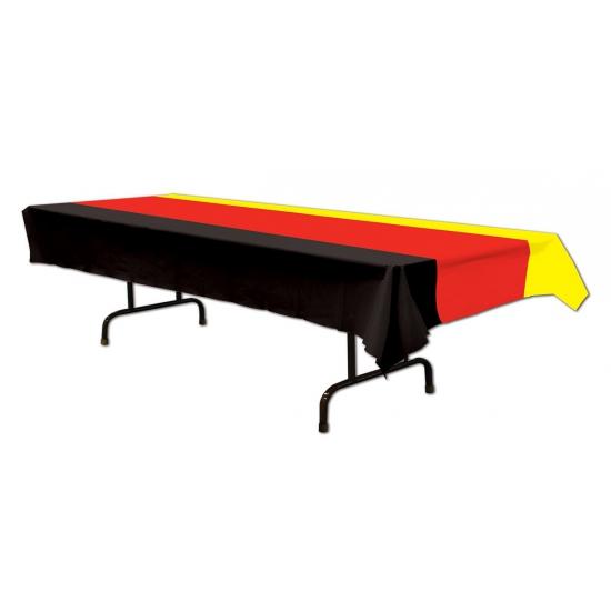 Party tafelkleed zwart rood en geel