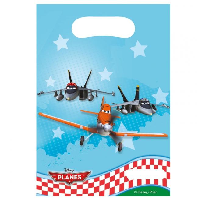 Planes plastic feestzakjes 6 stuks