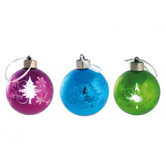 Plastic kerstbal met LED licht