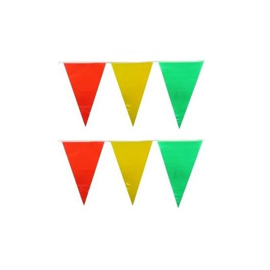 Plastic vlaggenlijn geel/rood/groen 10 meter