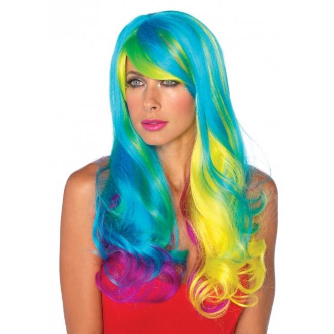 Pruik met multi color lang haar