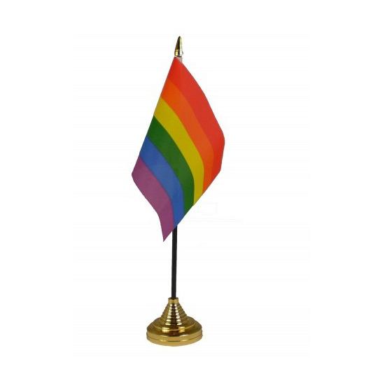 Regenboog tafelvlaggetje inclusief standaard