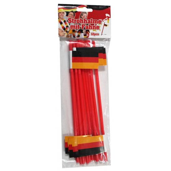 Rietjes rood met Duitse vlag 12 stuks