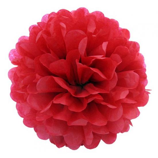 Rode pompom versiering 35 cm