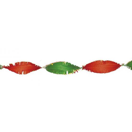 Rood / geel / groene crepe papier slinger 6 meter