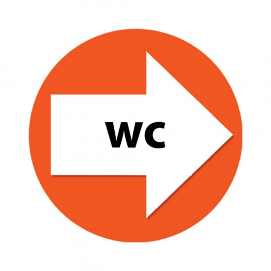 Route aanduiding oranje stickers WC