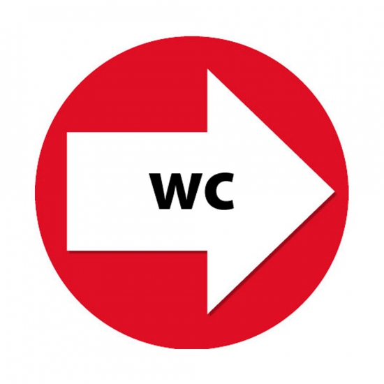 Route aanduiding rode stickers WC