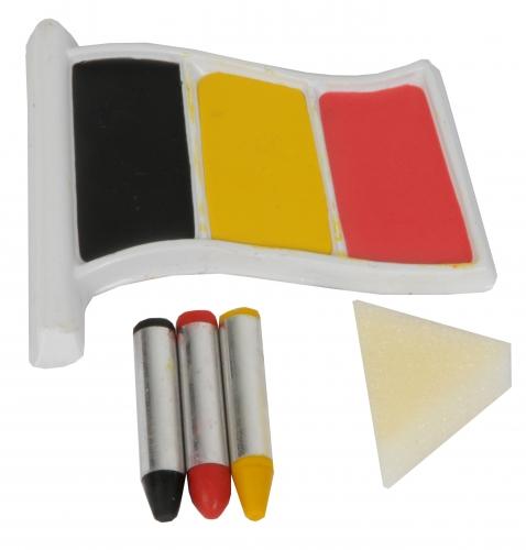 Schmink in zwart, geel, rood