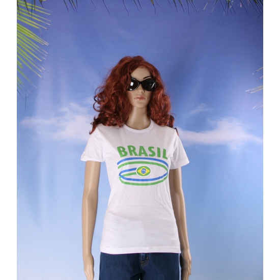 Shirts met vlaggen thema Brasil voor dames