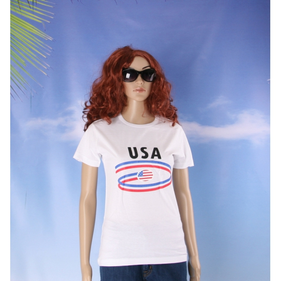 Shirts met vlaggen thema USA dames