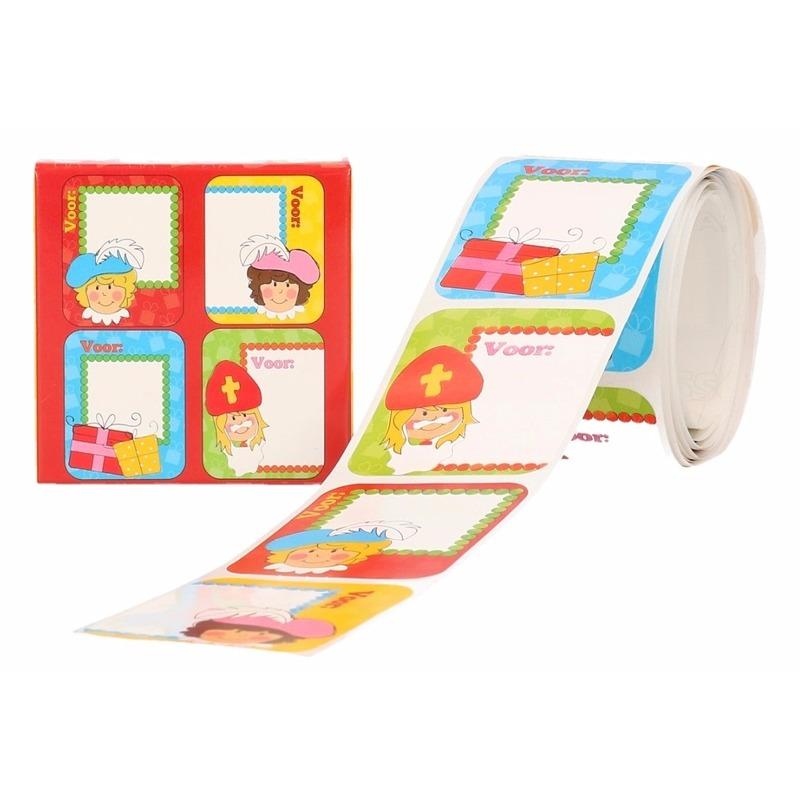 Sint kado stickers in rood doosje