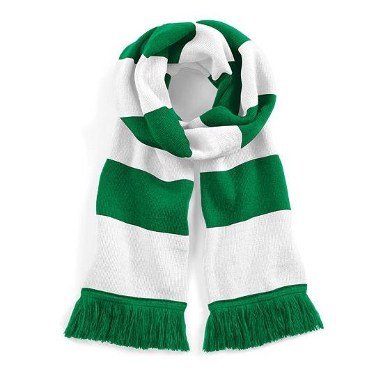 Sjaal met brede streep groen/wit