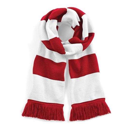 Sjaal met brede streep rood/wit