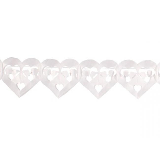 Slinger hartjes wit papier 6 meter