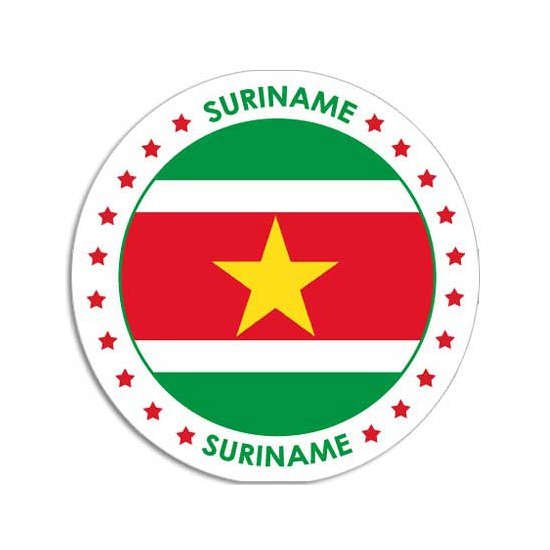 Suriname sticker vlag rond
