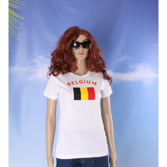 T shirt met vlag Belgie print voor dames