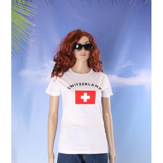 T shirt met vlag Zwitserse print voor dames
