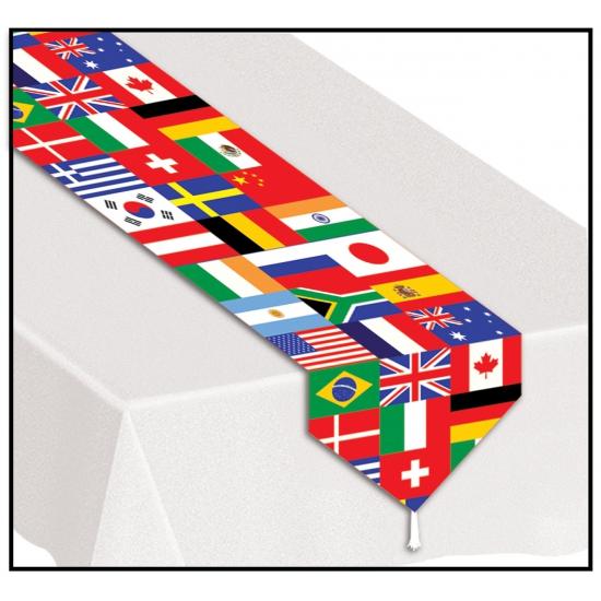 Tafelloper met wereld thema