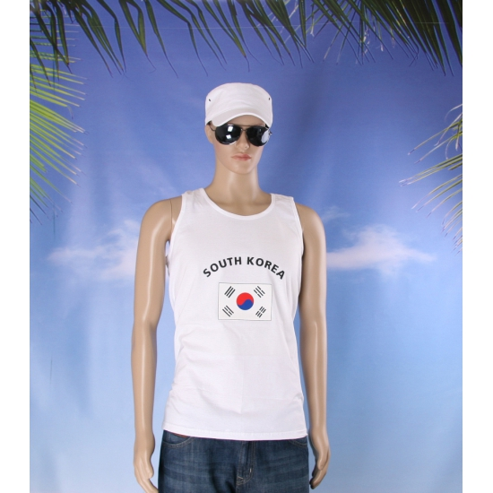 Tanktop met South Korea vlag print