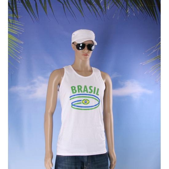 Top met vlaggen thema Brazilie heren