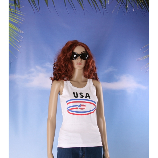 Top met vlaggen thema USA dames