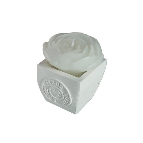Trouwerij kaarsje witte roos