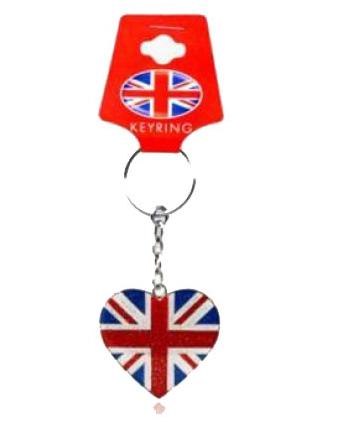Union Jack sleutelhanger hartvorm