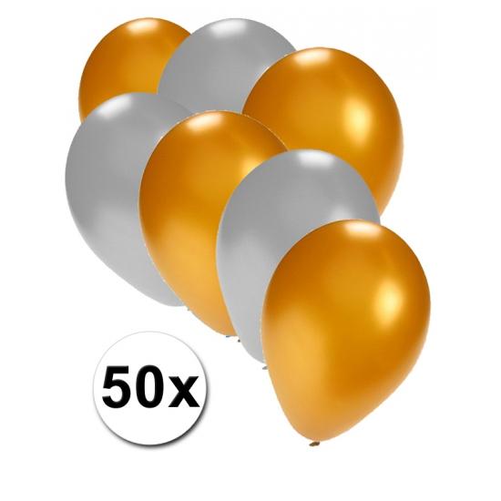 Verjaardag ballonnen goud en zilver 50