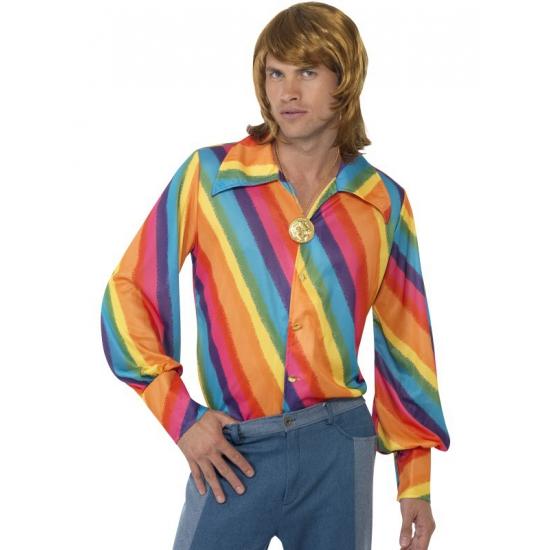 Verkleed overhemd regenboog