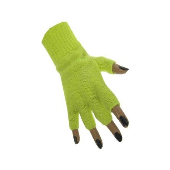 Vingerloze handschoen in het fluor geel