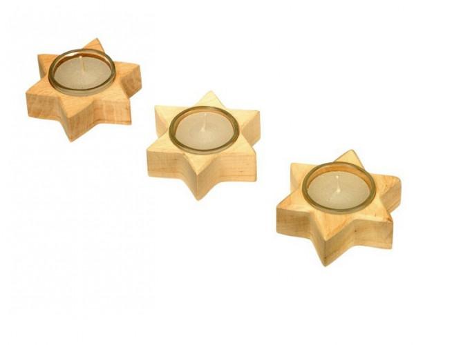 Waxinelichtjeshouders houten ster