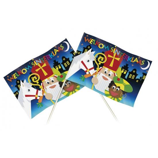 Welkom Sinterklaas thema zwaaivlaggetje 20 x 30 cm