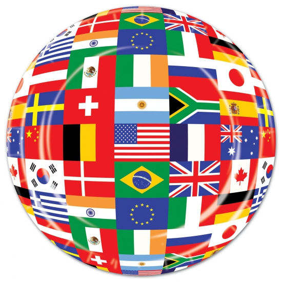 Wereld bordjes met internationale vlaggen