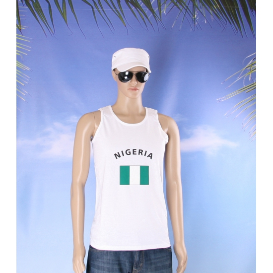 Witte heren tanktop Nigeria
