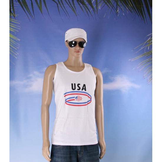 Witte heren tanktop USA
