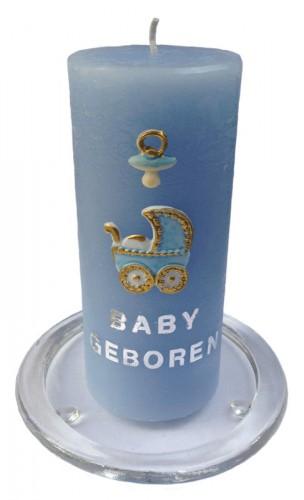 Zelf maak set baby geboren blauwe kaars 15 cm