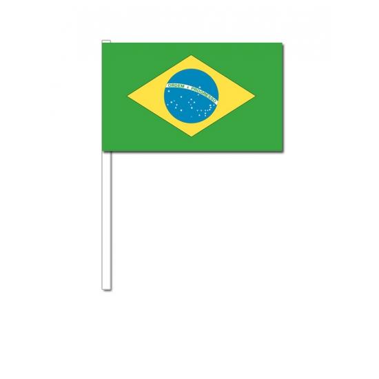 Zwaaivlaggetjes Brazilie 12 x 24 cm