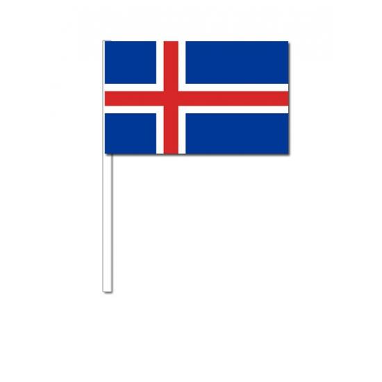 Zwaaivlaggetjes IJsland 12 x 24 cm