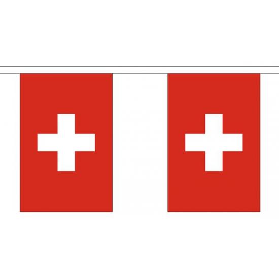 Zwitserland vlaggenlijn van stof 3 m