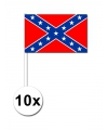 10 zwaaivlaggetjes geconfedereerde staten van amerika 12 x 24 cm