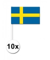 10 zwaaivlaggetjes zweden 12 x 24 cm